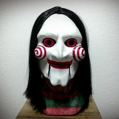 Latex Creepy SAW Billy Puppet Mask Cosplay Costume Prop Fantasy Halloween Scary