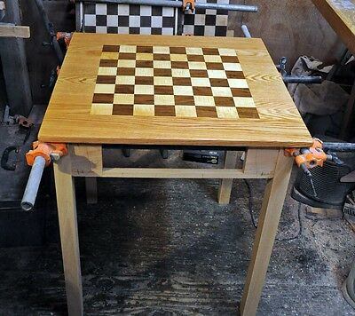 Chess Table By Sweet Hill Wood Red Oak W/ Walnut & Curly Maple 2-1/4 squares