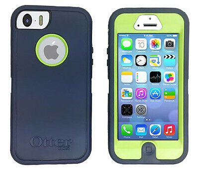 OEM Otterbox Defender Series Case for iPhone 5 / 5S Navy Blue / Neon Glow Green