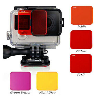 Camera Filter Kit f/ GoPro Hero +Soft Case Red Purple Pink Yellow & Gray Colors