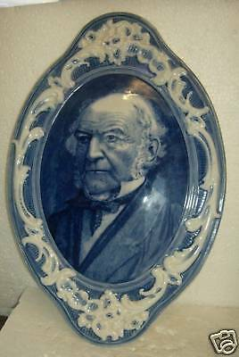 Burgess Leigh Blue White china Wall plaque GLADSTONE