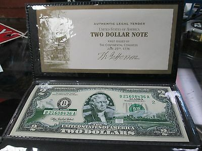 2003 UNCIRCULATED TWO DOLLAR ($2) BILL STATE OVERPRINT OF Alaska With Case