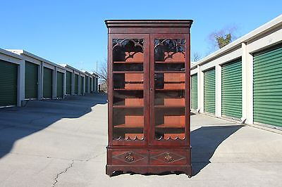 Early Victorian Empire Tall Orig Finish Flame Mahogany Gothic Bookcase ~Ca.1850