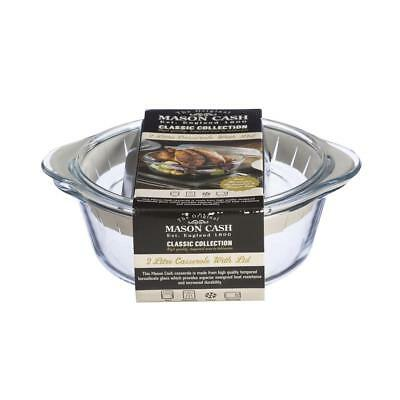 Set Of 2 Round 2L Tempered Glass Oven Proof Kitchen Casserole Pot Pie Dish & Lid
