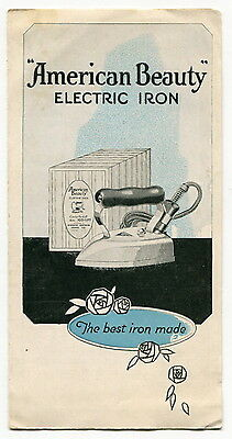 "Vintage Sales Brochure: ""AMERICAN BEAUTY"" Electric Iron"