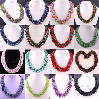 Chip Beads Weave Fluorite Amethyst Coral Turquoise Crystal Opal Necklace 18""