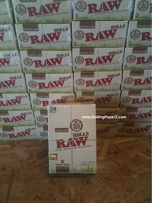 Box of 24 x Raw Organic Rolls Natural Hemp Cigarette Rolling Paper 5 Meters Each