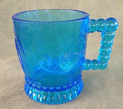 Bryce Brothers EAPG Pattern Glass MUG BLUE Owl & Two Birds