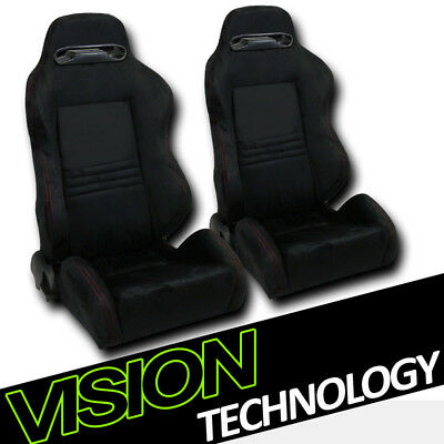 T-R Style Blk Suede Red Stitch Reclinable Racing Bucket Seats w/Sliders L+R V12