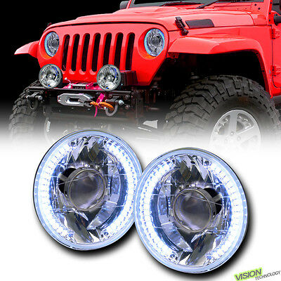 "7"" Round Chrome Glass Lens White Led Halo Projector Headlights H4 H6015 H6024 V3"