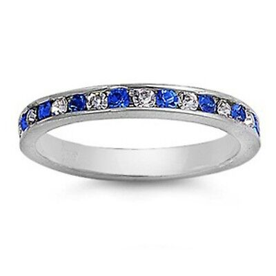 Sterling Silver ring size 12 CZ Round cut Eternity Band Blue Sapphire Clear New
