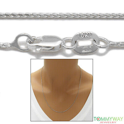 """10K White Gold Wheat Chain Necklace 1mm 16""""-24"""""""
