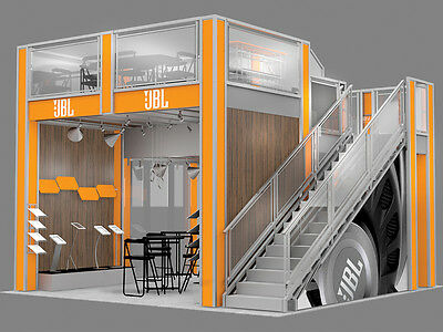 Two Story Trade show Display Booth Double Deck Rental EX2020