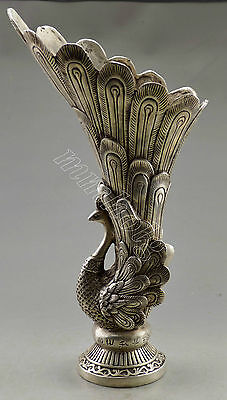Collectible Decorated Old Handwork Tibet Silver Carve Big Peacock Vase