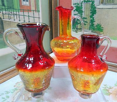 3 VINTAGE CRACKLE GLASS AMBERINA WITH CLEAR HANDLE CRUETS 1930-1960