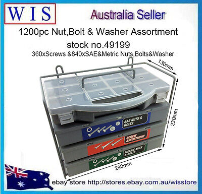 1200pc Nuts,Bolts&Washer Assortment,360 Screws, 840 SAE&Metric Nuts,Bolts Washer