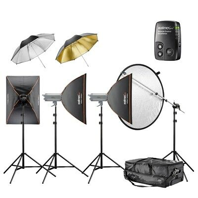 walimex pro VC Excellence Studioset Classic 4.4.6 2x400/600Ws+ Softboxen/Schirme