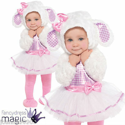 Girls Baby Toddler Cute Pink Xmas Little Lamb Sheep Fancy Dress Costume Outfit