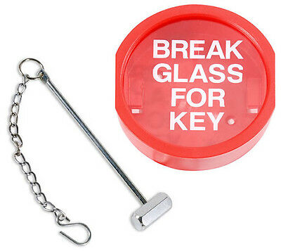 Break Glass Emergency Fire Alarm Plastic Fronted Key Box Keybox Hammer Chain New