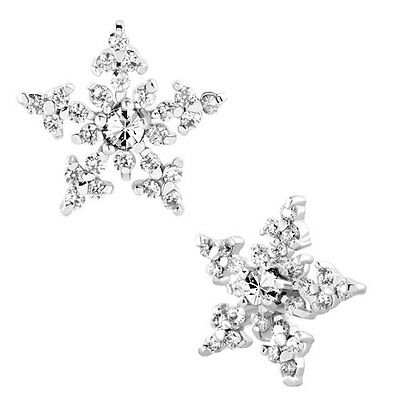 Pugster Snowflake Star Clear White April Birthstone Cz Crystal Stud Earrings A01