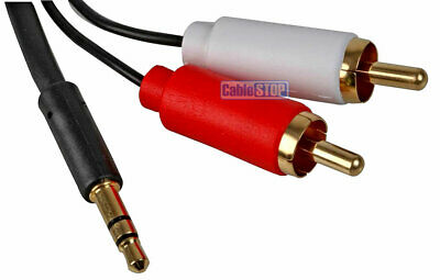 Slim White 3.5mm Stereo Jack to 2x RCA Twin Phono Cable TV PC Phone Aux Audio