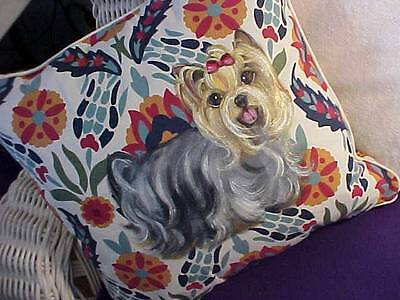 Yorkie Handpainted Pillow Just Gorgeous!