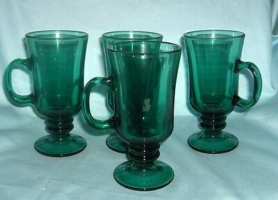 """Set of (4) teal green 8 oz mugs with handles footed heavy 6"""" tall  glass"""