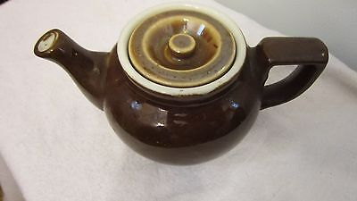 "Vintage Hall Brown Glazed Tea Pot w/Lid 3"" Tall x 6 1/4"" Spout to Handle"
