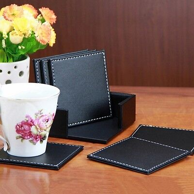 6 PCS Double Drinks Holder Leather Coasters Tableware Placemat of Cup Mat Pad
