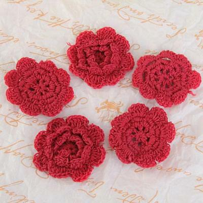 "20 Handmade 2"" Spring Flower Crochet Applique Red Sewing Trim Craft 8 Petals"