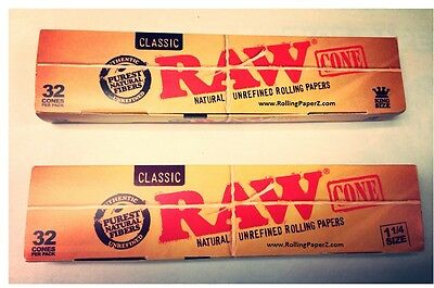 BOX of EACH - 1 1/4 and King Size RAW Pre-Rolled Rolling Paper Cones 32 Per Box