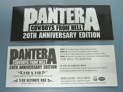 PANTERA 2010 COWBOYS FROM HELL PROMOTIONAL STICKER ~NEW old stock~MINT~!