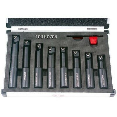8 Piece 3/4 Inch Round Shank Indexable Boring Bar Set (1001-0708)