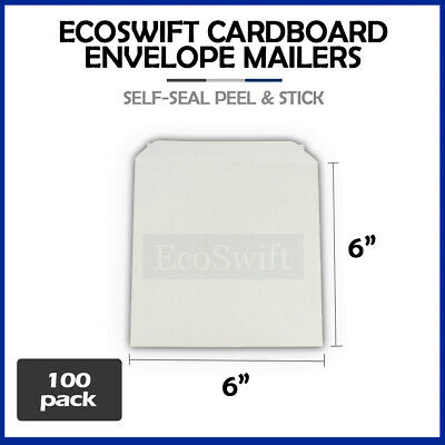 "100 - 6"" x 6"" White CD/DVD Photo Ship Flats Cardboard Envelope Mailer Mailers"