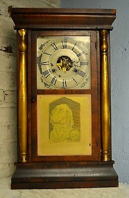 ANTIQUE SETH THOMAS COLUMN WEIGHT MANTLE SHELF CLOCK *RUNNING SMOOTH* 1860's DOG
