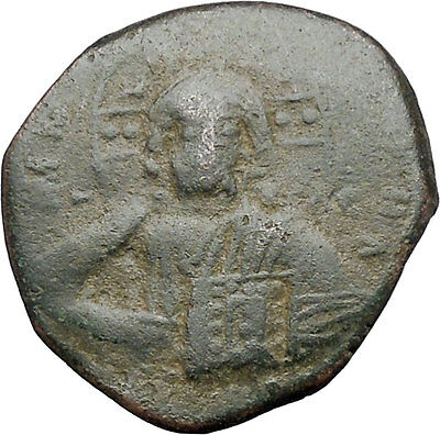 JESUS CHRIST Class A2 Anonymous Ancient 1028AD Byzantine Follis Coin i47462