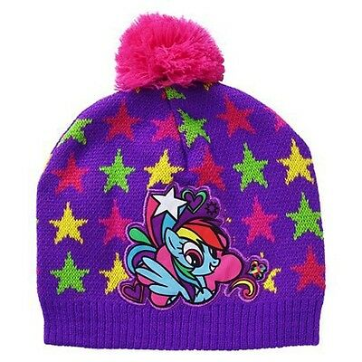 0b561d0c482 MY LITTLE PONY RAINBOW DASH Girls Purple Knit Beanie Winter Hat w Pom-Pom