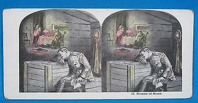 WWI US Army Infantry Soldier Dreams of Home No 10 Print Stereoview Card Series