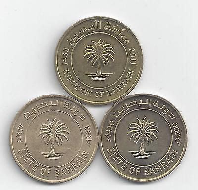 3 DIFFERENT 10 FILS COINS from BAHRAIN (1992, 2000 & 2011)