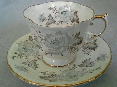 Vintage Aynsley Footed Tea Cup & Saucer Set Blue/Gray Flowers Gold Rim