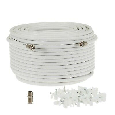 5m White RG6 Satellite Coax Cable Coaxial Lead 4 Sky Plus HD TV & F's + Clips