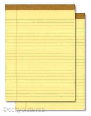 "(2) 8.5""x11"" 100 Sheet Yellow Writing Note Paper Pads - New"