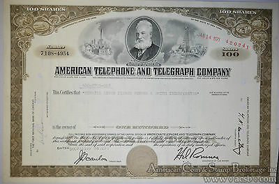 Stock Certificate 1971 American Telephone and Telegraph Company ATT.