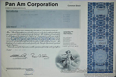 Stock Certificate Pan American World Airways 1 Share PanAm 1989.