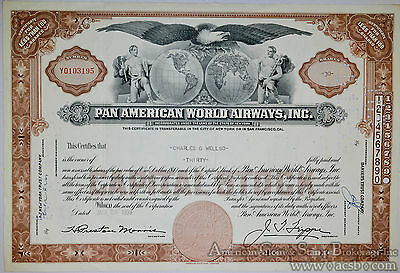 Stock Certificate Pan American World Airways 30 shares Early PanAm 1959.