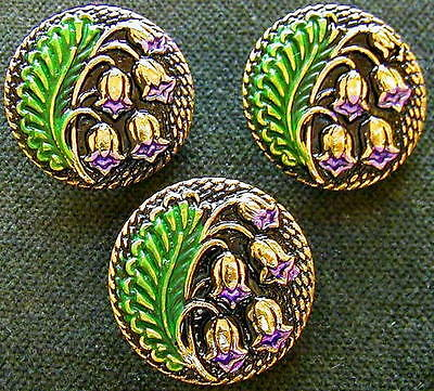 3 Czech UNIQUE Glass Buttons #A472 - RARE LILY of the VALLEY