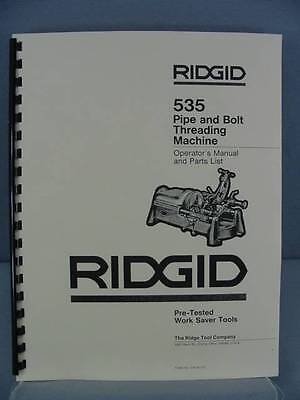 Ridgid 535 Pipe & Bolt Threading Machine Operator's & Parts Manual