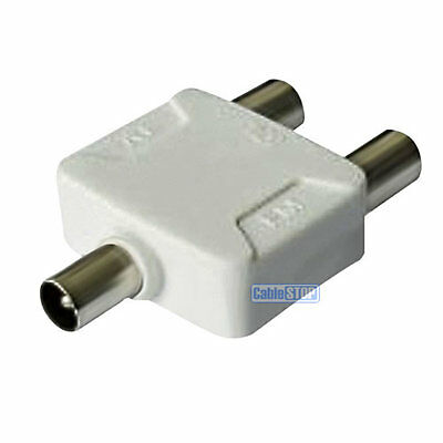 PRO 2 Way Coax TV AERIAL Cable Splitter 1 PLUG to 2 SOCKET Ariel Adapter PAL