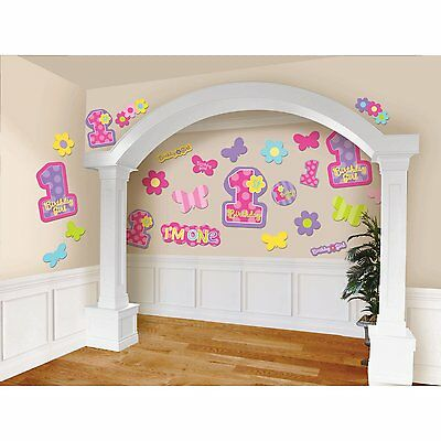 Girls First Birthday Cut Outs Decorate Baby Room Colorful Party Play Room