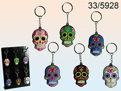 Day Of The Dead Rubber Skull Keyring - Mexican Tattoo - New Assorted Colours